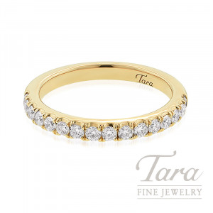 18K Yellow Gold Half-Eternity Diamond Stackable Band, 3.1G, .44TDW