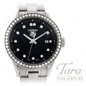 Tag Heuer Watch 27mm Carrera, Diamond Bezel, Black Dial, .67TDW