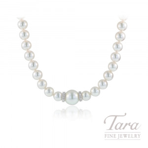 "Mikimoto 18k White Gold Diamond Stationary Pearl Strand, 18"" Strand, 7mm PEARLS, .40TDW"