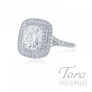 18K White Gold Double Diamond Halo Cushion Cut Diamond Ring, 3.01CT Cushion Diamond, .51TDW (Center Stone Sold Separately)