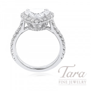 18K White Gold Heart-shape Diamond Halo Engagement Ring, 2.05CT Heart-shape Diamond, 5.3G, .81TDW