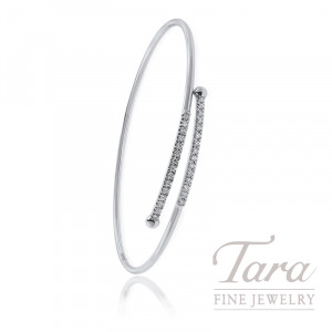 18K White Gold Diamond Spring Bangle, 5.6G, .23TDW