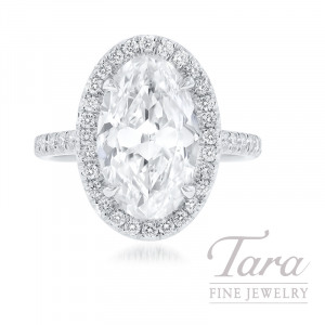 Platinum Oval-shape Diamond Engagement Ring, 3.88CT Oval-shape Diamond, 7.7G, .54TDW (Center Stone Sold Separately)