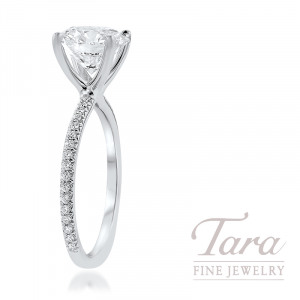 18K White Gold Semi Mount Diamond Engagement Ring 2.8G; 34 Round Diamonds, .18TDW (Center Stone Sold Separately)