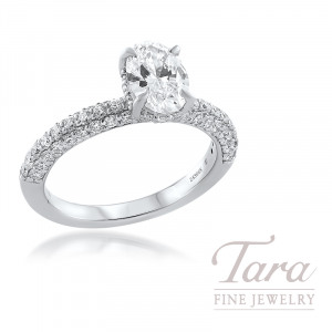 18K White Gold Oval Diamond Engagement Ring, 70 Round Diamonds 0.79TDW, 1.02CT. Forevermark Oval Diamond (Sold Separately)