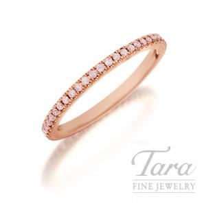 Henri Daussi 18K Rose Gold Light Pink Diamond Band, .15TDW