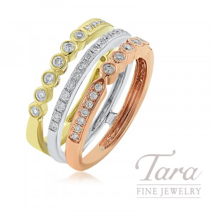 18K Rose, Yellow, and White Gold Diamond Ring, 6.9G, .58TDW