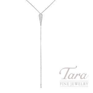 18k White Gold Sparkling Pave Diamond Lariat Necklace, 5.1G, .55TDW