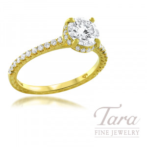 Jack Kelege 18K Yellow Gold Forevermark Diamond Semi-Mount, 38 Round Diamonds 0.32TDW, 1.04CT Forevermark Round Diamond (Center Stone Sold Separately)