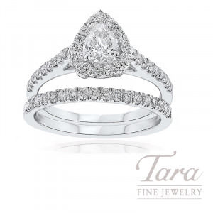 18k White Gold Pear-Shape Diamond Halo Wedding Set, .40CT Pear-Shape Diamond, .90TDW (Center Stone Sold Separately)