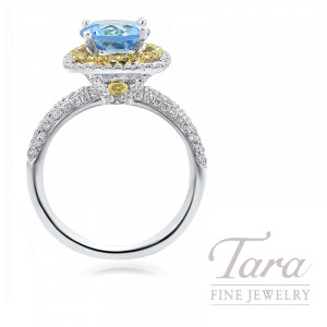18k White and Yellow Gold Blue Topaz & Fancy Yellow Diamond Halo Ring, 2.22CT Blue Topaz, 5.0G, .15TW Fancy Yellow Diamonds, .70TW White Diamonds