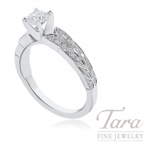 14K White Gold Diamond Engagement Ring, .53CT Round Brilliant Diamond, 3.8G, .27TDW