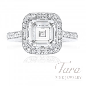 18K White Gold Asscher Cut Diamond Halo Engagement Ring, 2.39CT Asscher Cut Diamond, 5.3G, .52TDW (Center Stone Sold Separately)
