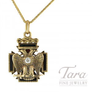 10K Yellow Gold Double Eagle Pendant .20CT Old European Diamond in Breast With Enameling