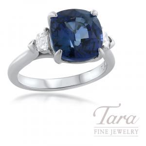 Platinum Cushion Cut Blue Sapphire Diamond Ring, Cushion Cut Blue Sapphire 5.74CT and 2 Diamonds 0.74TDW