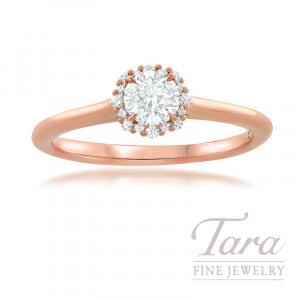 Forevermark 18K Rose Gold Diamond Engagement Ring, Round Center Diamond 0.30 I-SI2, 16 Round Stones 0.07TDW