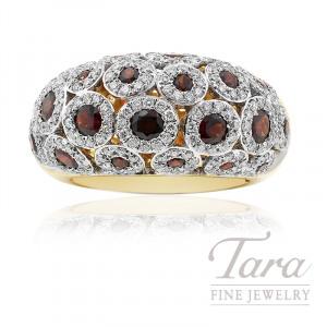 18K Yellow Gold Garnet & Diamond Ring, 11.2G, 2.45TGW Garnets, 1.42TDW Diamonds