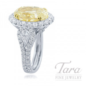 Platinum and 18K Yellow Gold Oval-shape Fancy Light Yellow Diamond Ring, 15.8G, 8.13CT Fancy Light Yellow Diamond, .50TDW Shield Cut Diamonds, 1.82TDW Round Diamonds