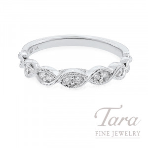 18K White Gold Ribbon-Style Diamond Stackable Band, 2.6G, .20TDW