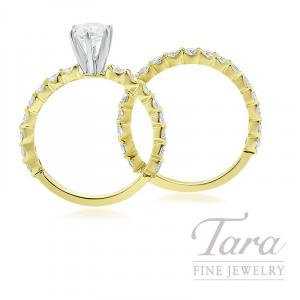 18k Yellow Gold Diamond Engagement Ring and Diamond Band, 1.61TDW