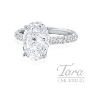 Platinum & 18K White Gold Oval Diamond Pave Engagement Ring, 3.01CT Oval Diamond, 3.9G, .35TDW (Center Stone Sold Separately)