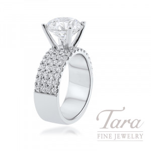 18K White Gold Diamond Engagement Ring, 9.2G, 1.0TDW (Center Stone Sold Separately)