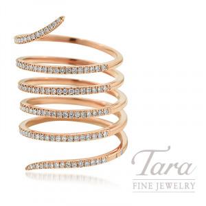 18K Rose Gold Diamond Wrap Ring, 7.6G, .53TDW