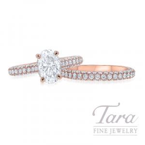 18k Rose Gold Oval Diamond Pave Wedding Set, 1.30CT Oval-shape Forevermark Diamond, 1.55TDW (Center Stone Sold Separately)