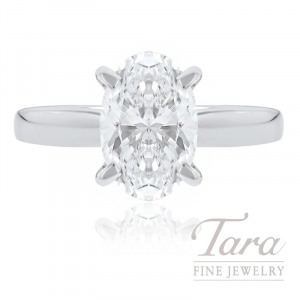 18k White Gold Oval-shape Diamond Solitaire Engagement Ring, 2.26CT Oval-shape Diamond