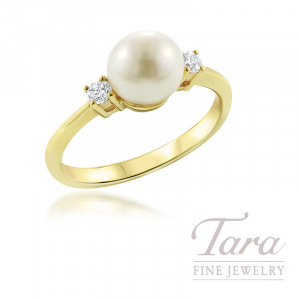 18k Yellow Gold Pearl and Diamond Ring, 7.5mm Pearl, .14TDW