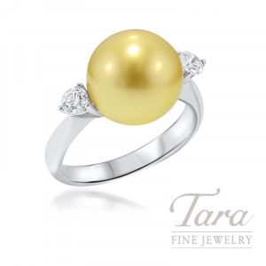 18k White Gold Golden South Sea Pearl and Diamond Ring - Click for Available Sizes!