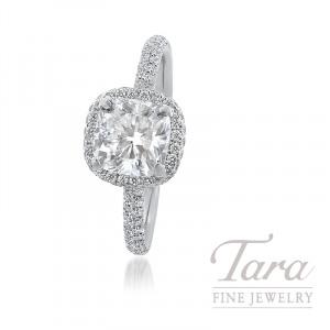 18k White Gold Cushion Diamond Halo Engagement Ring, 1.51CT Cushion Diamond, .50TDW (Center Stone Sold Separately)