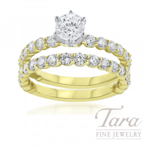 18k Yellow Gold Diamond Engagement Ring and Diamond Band, 1.61TDW