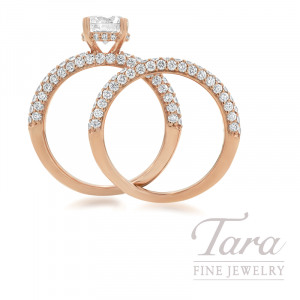 Ritani 18k Rose Gold Pave Diamond Wedding Set, 1.62TDW (Center Stone Sold Separately)