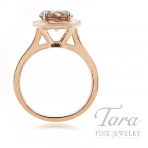 18K Rose Gold Chocolate Diamond Halo Engagement Ring, 2.02CT Chocolate Diamond, 4.0G, .41TDW (Center Stone Sold Separately)