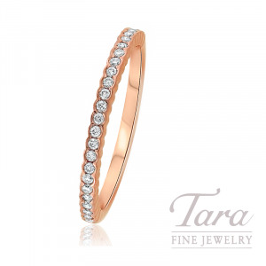 18K Rose Gold Diamond Bezel Stackable Ring, 1.5G, .14TDW