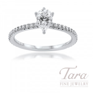 18K White Gold Semi Mount Diamond Engagement Ring 2.3G, 34 Round Diamonds .17TDW, 0.55CT. Pear Shape Diamond (Center Stone Sold Separately)