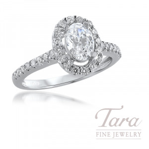 18K White Gold Oval Shape Diamond Halo Semi Mount, 32 Round Diamonds, .40TDW (Center Stone Sold Separately)