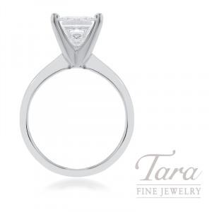 18k White Gold Princess Cut Diamond Solitaire Engagement Ring, 2.23CT Princess Cut Diamond
