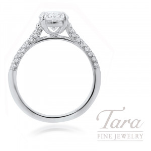 18K White Gold Oval-shape Diamond Pave Engagement Ring, 1.50CT Oval-shape Diamond, 3.8G, .26TDW (Center Stone Sold Separately)