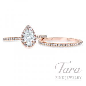 18K Rose Gold Pear-shape Diamond Halo Wedding Set, .50CT Pear-shape Forevermark Diamond, .33TDW (Center Stone Sold Separately)