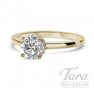 Ritani 18k Yellow Gold Diamond Engagement Ring, 3.7G, .10TDW (Center Stone Sold Separately)