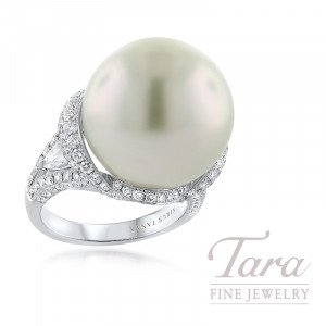 18K White Gold 17MM South Sea Pearl and Diamond Ring, 158 Round Diamonds 1.89TDW