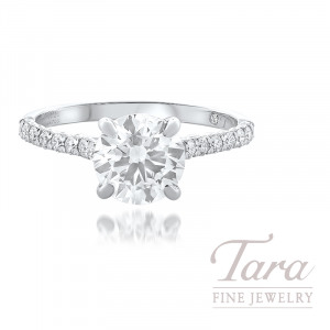 18K White Gold Diamond Engagement Ring, 19 Round Diamonds 0.28TDW, 1.50 Forvermark J-VVS2 Round Diamond (Sold Separately)