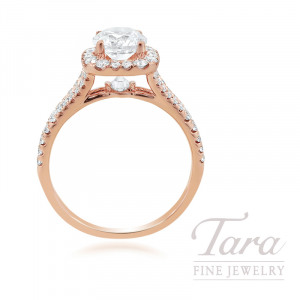 18K Rose Gold Diamond Halo Engagement Ring, 3.4G, .66TDW (Center Stone Sold Separately)