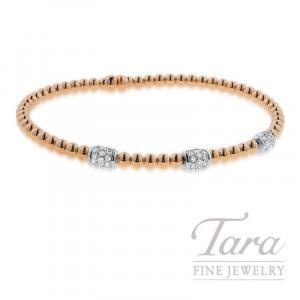 18K Rose and White Gold Spring Diamond Bangle, 8.1G, .40TDW