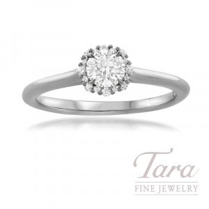 Forevermark Platinum Diamond Engagement Ring, Round Center Diamond 0.31 J-SI1, 16 Round Stones 0.07TDW
