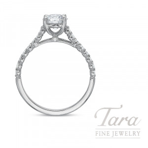 18K White Gold Diamond Engagement Ring, 19 Round Diamonds 0.28TDW, 1.50CT. Forevermark J-VVS2 Round Diamond (Sold Separately)