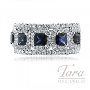 18K White Gold Diamond and Blue Sapphire Ring, 5 Square Sapphires 1.45TW and 120 Round Diamonds 0.90TDW
