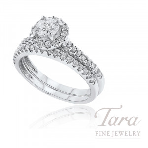 18K White Gold Diamond Halo Wedding Set, .50CT Round Diamond, .60TDW